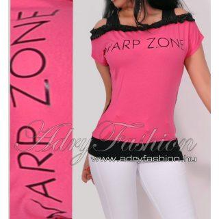 Warp Zone vállra húzható női felső pink