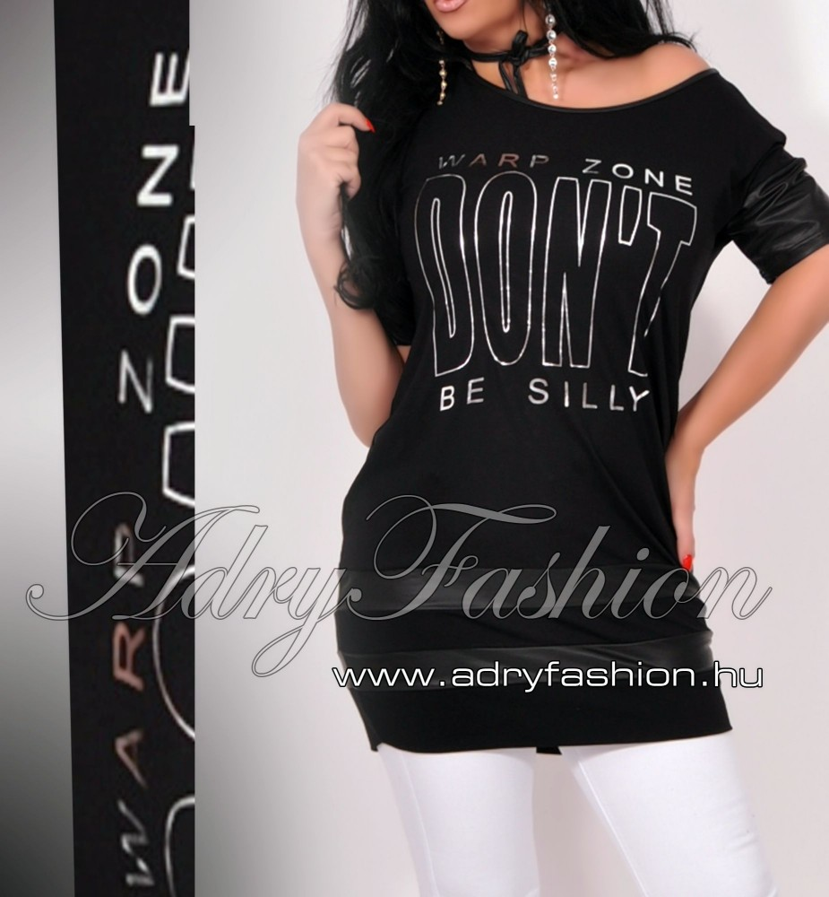 c0c013ddbf Warp Zone lenge női ruha / tunika fekete - AdryFashion női ruha ...