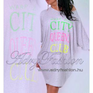 Warp Zone lenge női ruha / tunika City Queens szürke