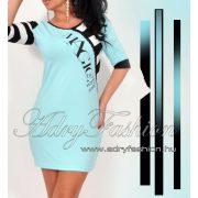 Warp Zone csipke díszes világos kék női ruha csíkos