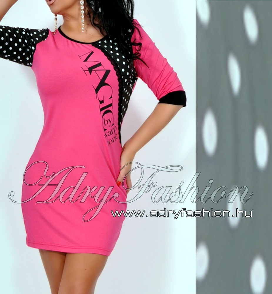 3dfdae30a9 Warp Zone csipke díszes rózsaszín női ruha pöttyös - AdryFashion női ...