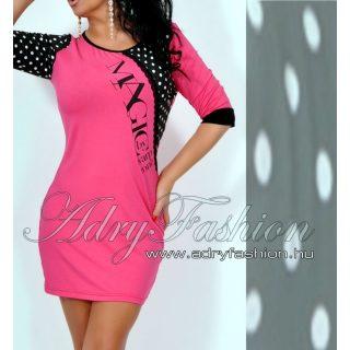 Warp Zone csipke díszes rózsaszín női ruha pöttyös