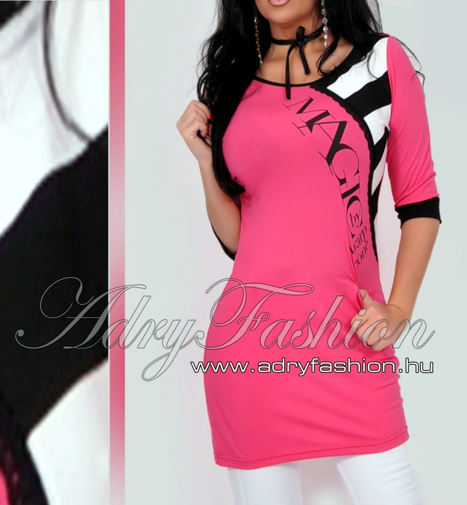 98a2426273 Warp Zone csippke díszes pink női ruha csíkos - AdryFashion női ruha ...