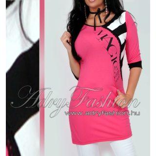 Warp Zone csippke díszes pink női ruha csíkos