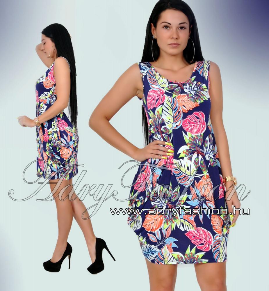 1ad9244ee9 Warp Zone színes zsebes levél mintás női ruha kék - AdryFashion női ...