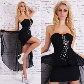 Glamour alkalmi ruha köves dísszel fekete M-es