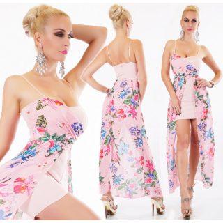 Elegáns alkalmi muszlin női ruha rózsaszín