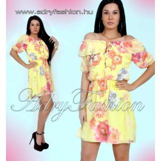 Vállra húzható fodor díszes virágmintás női ruha sárga