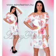 Vállra húzható fodor díszes virágmintás női ruha fehér