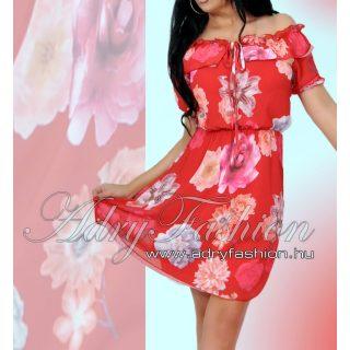 Vállra húzható fodor díszes virágmintás női ruha piros