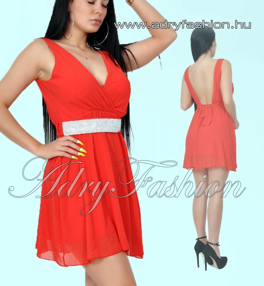 4218dc85f136 Piros mell alatt gumírozott női alkalmi ruha strassz díszítésű övvel ...