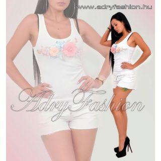 Fehér Bordázott női trikó virág díszes