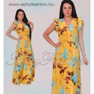 Vállánál fodros levél mintás női maxi ruha sárga