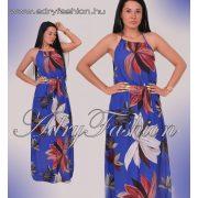 Virág mintás nyakba köthető női maxi ruha kék