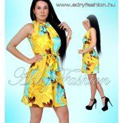 Nyakánál húzott deréknél megkötős levél mintás női ruha sárga