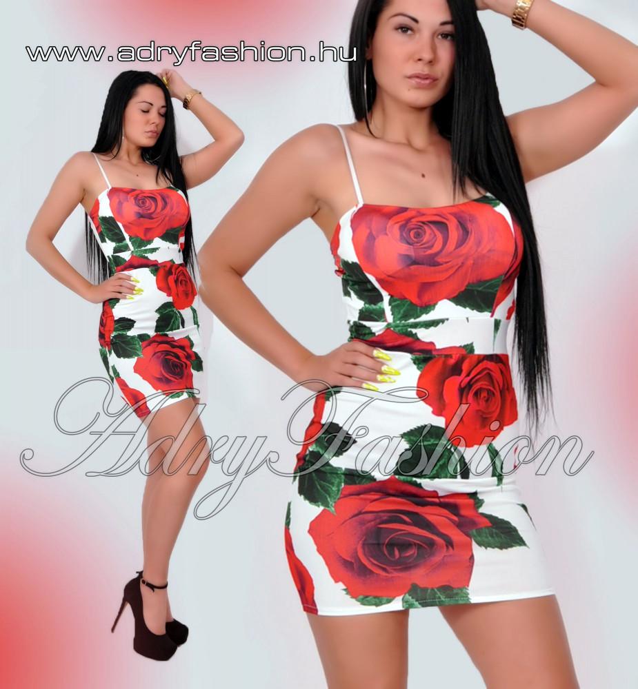 8fcb095384e4 Rózsás vékony pántú női ruha fehér-piros Virág mintás alkalmi ruha ...
