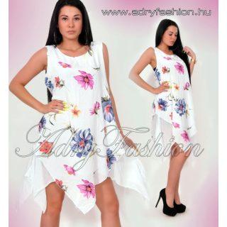 Színes Virág mintás lenge női ruha fehér