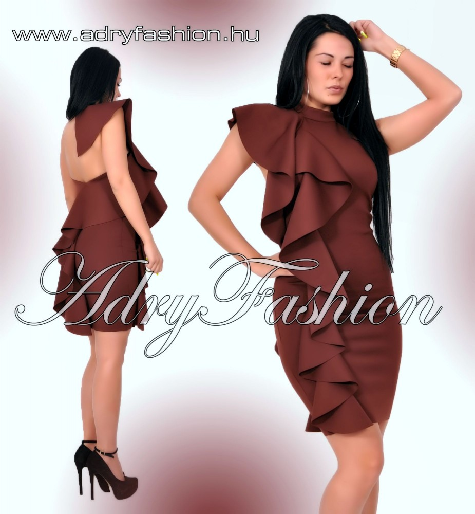 d7a6122f12 Fodor díszes alkalmi női ruha kávé barna M-es - AdryFashion női ruha ...