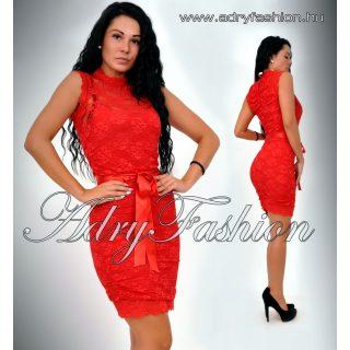 Piros csipke díszes alkalmi női ruha  M-es
