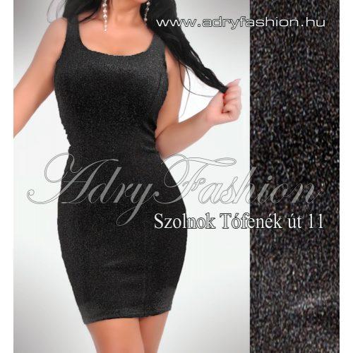 Fekete csillogós alkalmi női ruha - trikó ruha