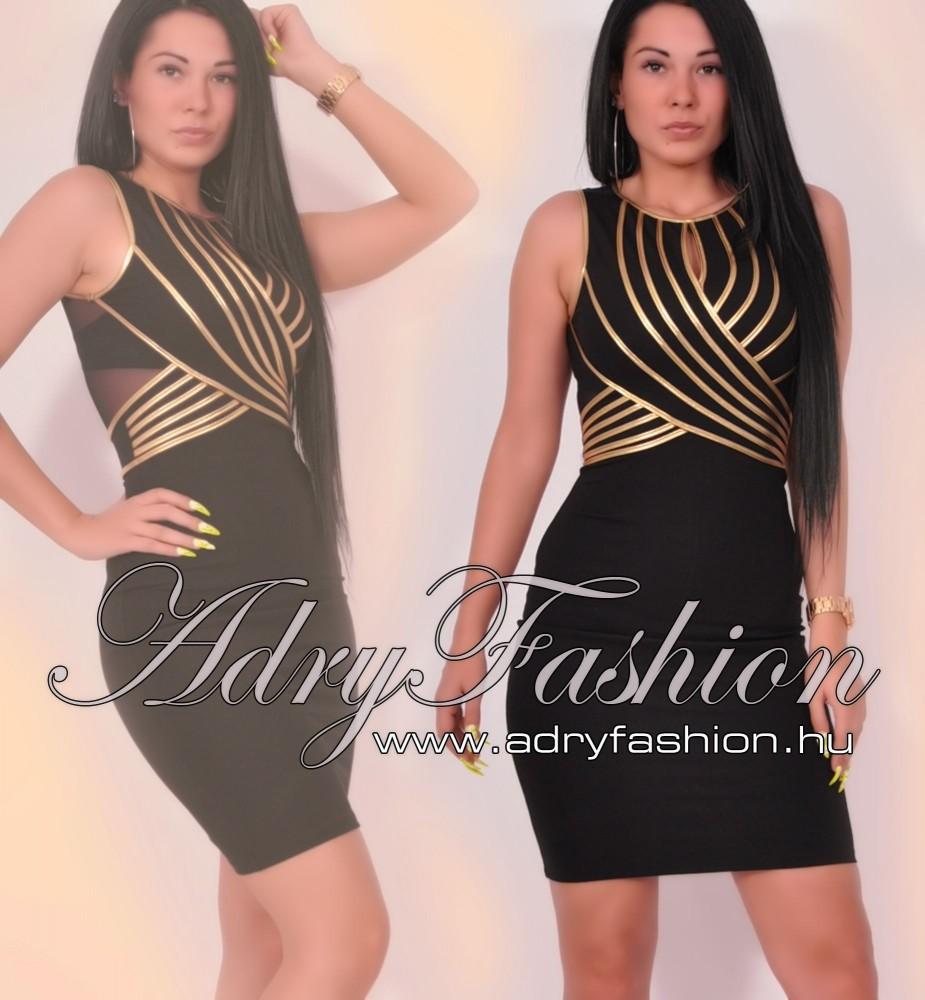 2aafec0618 Fekete arany alkalmi női ruha arany pánt dísszel - AdryFashion női ...