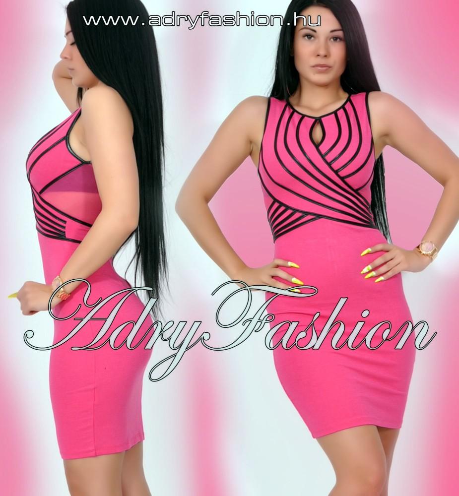 fdb746e2f6 Pink alkalmi női ruha fekete pánt dísszel - AdryFashion női ruha ...