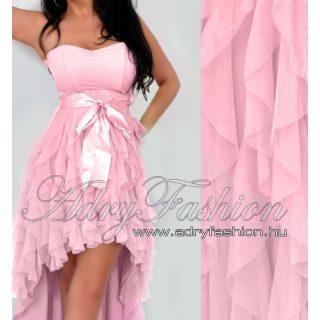 Rózsaszín elöl rövidebb hátul hosszabb tüll díszes alkalmi ruha M -es