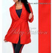 Piros karcsúsított blézer kabát övvel