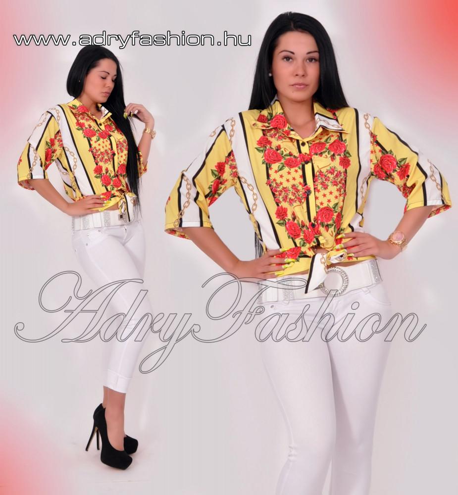 1f1efe322d Sárga színű fehér rózsás szatén blúz - AdryFashion női ruha ...