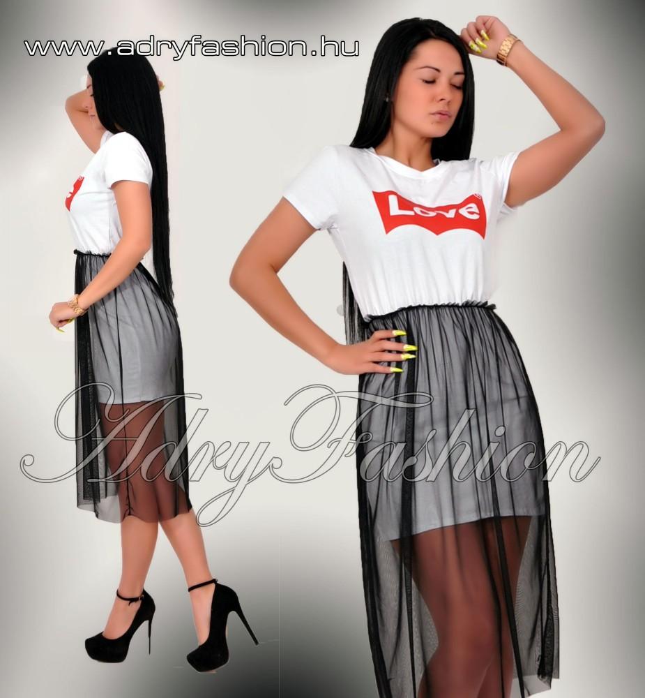 527b8016a8 Love feliratos tüll díszes női ruha fehér - AdryFashion női ruha ...