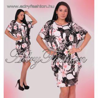 Fekete rózsaszín virágos derekán gumis denevér ujjú női lepel ruha