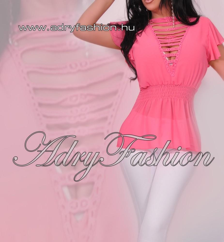 e800b59532 Pink Nyitott vállán fodros női muszlin felső - AdryFashion női ruha ...