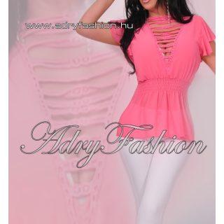 Pink Nyitott vállán fodros női muszlin felső