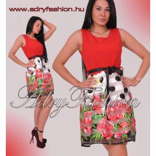 Piros alul rózsás - pöttyös harang szoknyás elegáns női ruha megkötővel