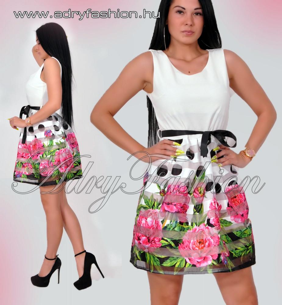 d968e0e1ca5a Fehér alul rózsás pöttyös szoknyás elegáns női ruha megkötővel ...