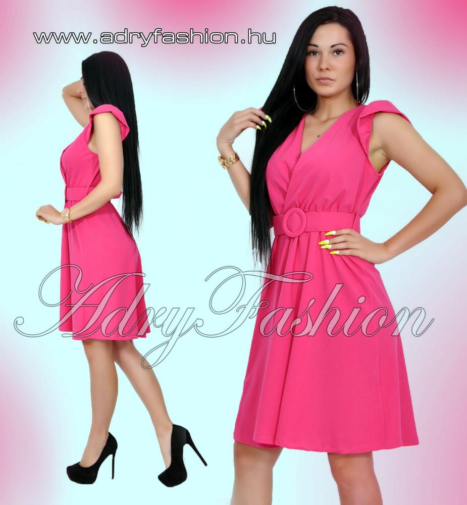58915c5506 Pink vállán fodros alkalmi női ruha öv dísszel - AdryFashion női ...