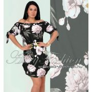 Fekete virág mintás lenge női ruha - tunika