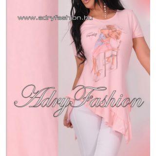 Rózsaszín csinos fodros  női tunika SUPER FAMILY