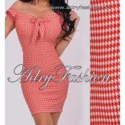 Piros fehér mintás mellénél megkötős női ruha