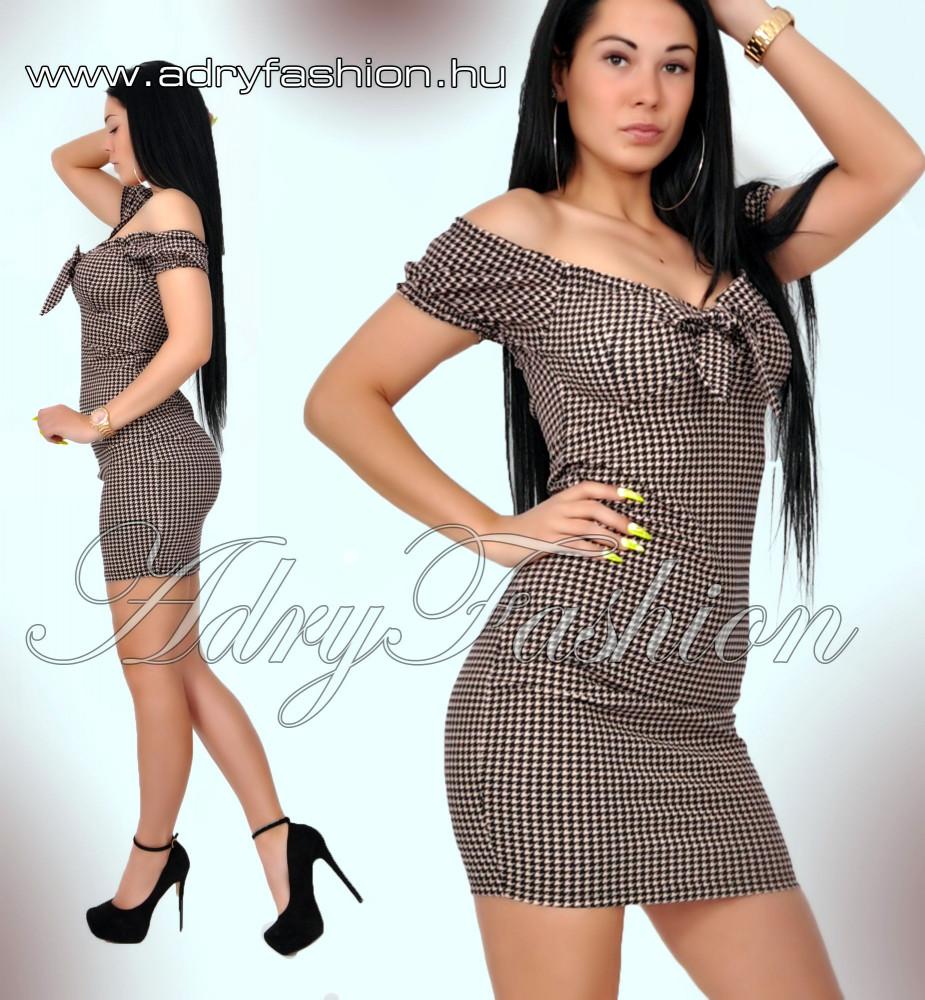 5b3c5085a3 Púder fekete mintás mellénél megkötős női ruha - AdryFashion női ...
