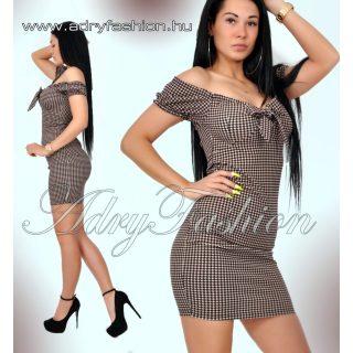 Púder  fekete mintás mellénél megkötős női ruha