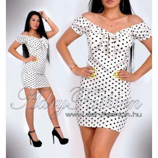 Fehér alapon fekete  pöttyös mintás mellénél megkötős női ruha