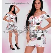 Fehér virág mintás mellénél megkötős női ruha