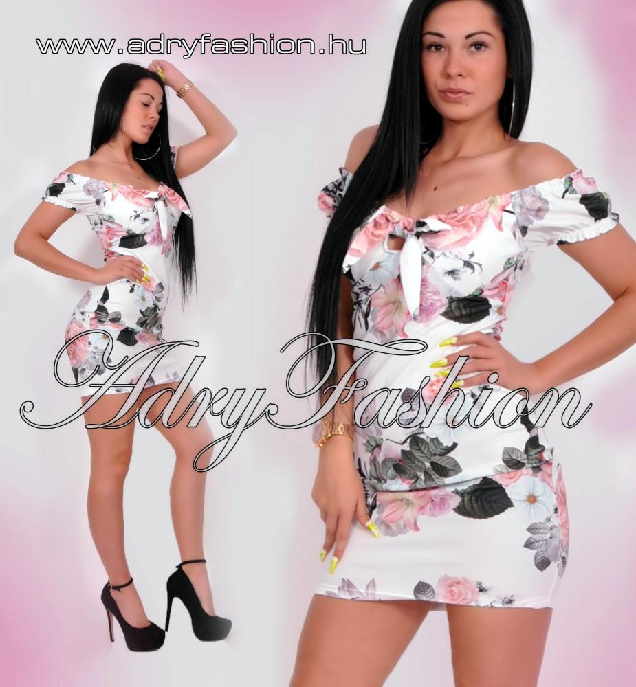 4919cbb7be Fehér virág mintás mellénél megkötős női ruha - AdryFashion női ruha ...