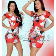 Piros virág mintás mellénél megkötős női ruha