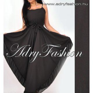 Hátán gumírozott  derekán megkötős fekete női ruha