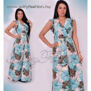 Virág mintás derekán megköthető női ruha kék