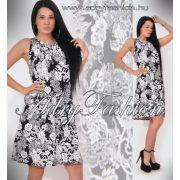 Fekete fehér mintás nyakánál megkötős női ruha