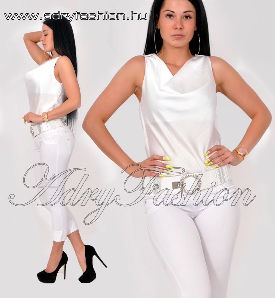 9a04da109c Fehér alkalmi kámzsás nyakú női felső - AdryFashion női ruha ...