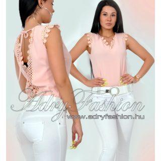 Rózsaszín hátán nyitott megkőtös női felső